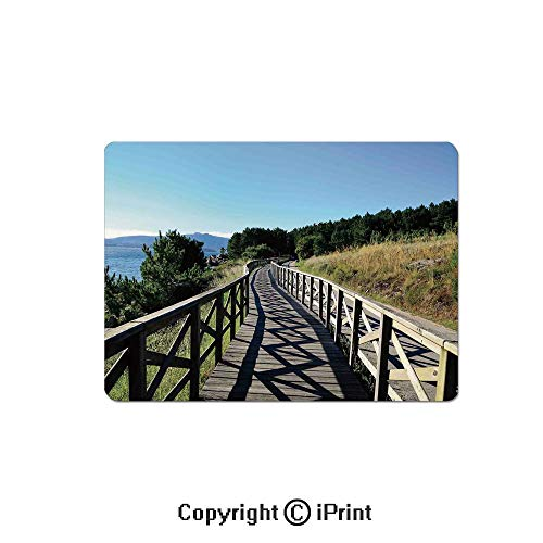 (Anti-Slip Mouse Pad,Wooden Pathway by Sea Bridge Placid Quiet Alone Time Plants Tree Healing Print Mouse Mat,Non-Slip Rubber Base Mousepad,7.9x9.5 inch,Green Brown Blue)