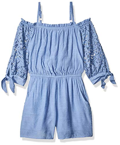 Amy Byer Girls' Big Off The Shoulder Romper, Garden Manor Blue S