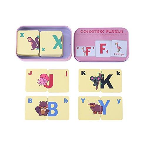 Zerodis Lindo Cognición Puzzle Tarjetas en Caja de Almacenamiento de Metal, Números/Letras/Formas/Animales Juguetes para...