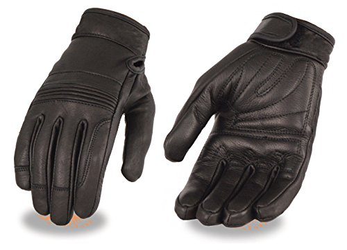 Womens Leather Motorcycle Gloves - Ladies Premium Leather Riding Gloves w/ Gel Palm, Flex Knuckles