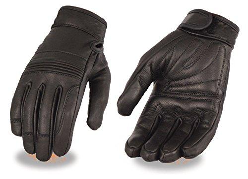 Ladies Premium Leather Riding Gloves w/ Gel Palm, Flex Knuckles