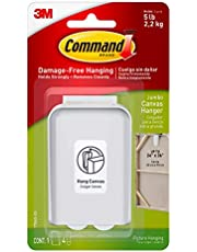 Command Canvas Picture Hanger, Jumbo, White, 1 Hanger 4 Large Strips