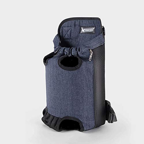 ZHAIZX Pet Chest Bag Denim Backpack Out Carrying Bag Than Bear Teddy Small Dog Breathable Four-Legged Bag (Color : Blue, Size : L(7.8X3.3X14.6in))