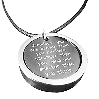'Grandson, You Are Braver Than You Believe...' Necklace Pendant Grandson Jewelry From Grandma & Grandpa