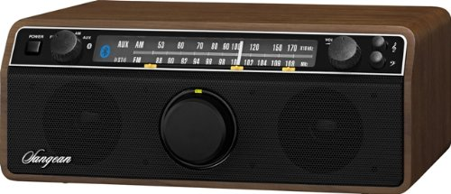 Sangean WR-12BT AM/FM/Bluetooth/AUX-In Stereo Analog Wooden Cabinet Radio (Dark Walnut)