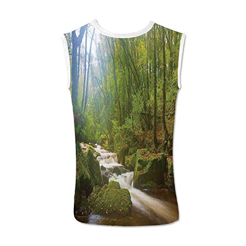 - Woodland Decor Comfortable Tank Top,Forest Scene at Golitha Falls Nature Reserve on The River Fowey Cornwall England for Men,S