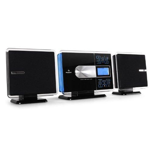 auna VCP191 Stereoanlage Design Microanlage (CD-Player, MP3-fähig, Radio-Tuner, Touchpad-Armatur mit Hintergrundbeleuchtung, Fernbedienung) schwarz