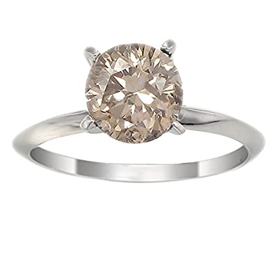 5feae15799b00 1 CT 14K White Gold Champagne Diamond Solitaire Ring In Size 7 ...