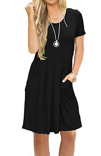 AUSELILY Women's Short Sleeve Pleated Loose Swing Casual Dress with Pockets Black L (Ladies Dresses Casual)