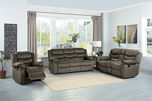 Homelegance Vining 3-Piece Manual Reclining Sofa Set, Brown - Homelegance 3 Piece Sofa