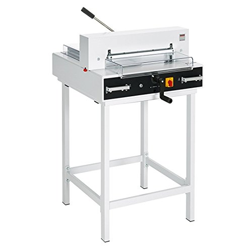 MBM TRIUMPH 4315 SEMI-AUTOMATIC TABLETOP PAPER CUTTER WITH ELECTRIC BLADE DRIVE, MANUAL FAST-ACTION CLAMP, AND EASY CUT BLADE ACTIVATION