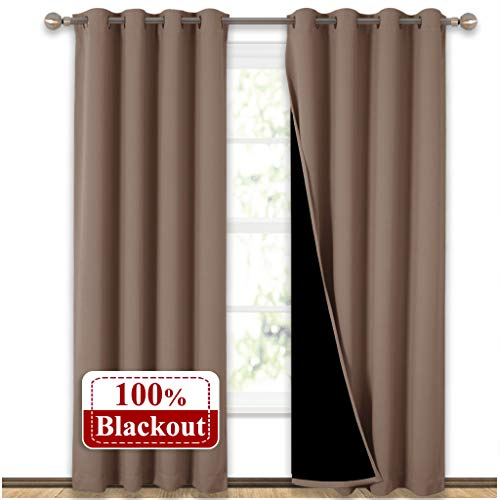 NICETOWN 100% Blackout Curtains Thermal, Noise Reduction and Privacy Curtains for Patio Door, Black Lined Blackout Drapes with Grommet Top, Taupe, 1 Pair, W52 x L84 (Doors Top Grommet For Curtains Patio)