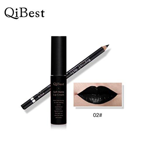 Wasserdichte Bleistift lang anhaltende Lippenkonturenstift mit Lippenstift perfekte Kombination Tefamore (Schwarz)