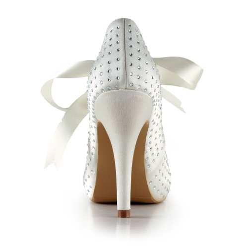 Minishion Gyayl438 Donna Stiletto Tacco Alto Scarpe Da Sera In Raso Da Sposa Scarpe Da Sposa Mary Jane Tacco Avorio-10cm