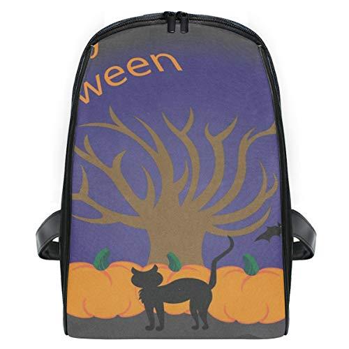Backpack Halloween Tree Pumpkins Cat Personalized Shoulders Bag Classic Lightweight Daypack -