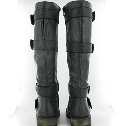 Dolcis OLB154-Stivali da donna, al ginocchio, con fibbia, colore: nero