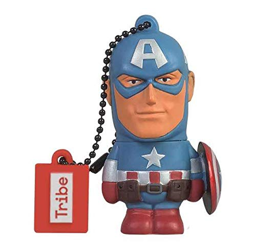 Tribe Disney Marvel Avengers Captain America 16GB USB 2.0 Flash Drive with Rubber Keyring - Blue