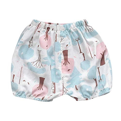 TIFENNY Toddler Boys Summer Shorts Baby Girls Cartoon Animals Printing Casual Pants Elastic Loose Lantern Shorts Pink