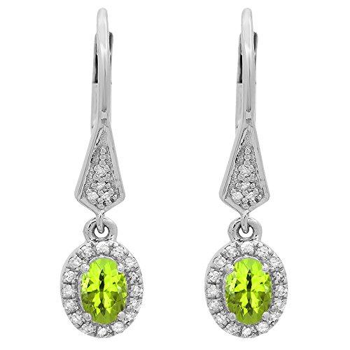 14K White Gold 6X4 MM Each Oval Peridot & Round Diamond Ladies Dangling Drop (14k 6x4mm Oval Peridot Earring)
