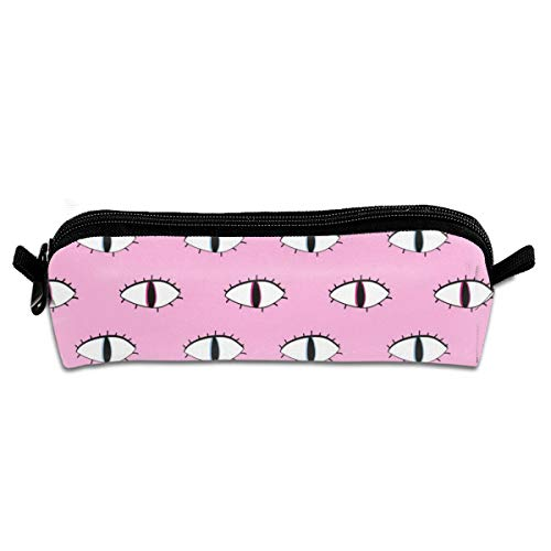 FJSLIE Halloween Eyes Oxford Storage Bags Portable Student Pencil Printing Office Stationery Bag Zipper Wallets Makeup Multi-Function -