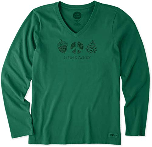 Life is Good. Womens Long Sleeve Crusher Vee: Peaceful Acorn, Forest Green - S
