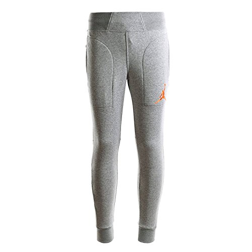 NIKE Air Jordan Men's Plus Velvet Sweatpants 696205-063 066 (M, Gray/Orange) by NIKE