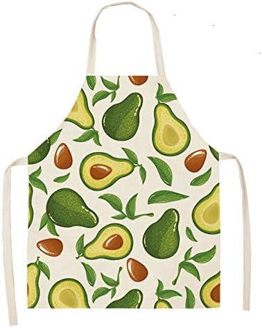 Avocado Cotton Linen Apron Printed Kitchen  Baking Waist Bib Home Cooking Acces