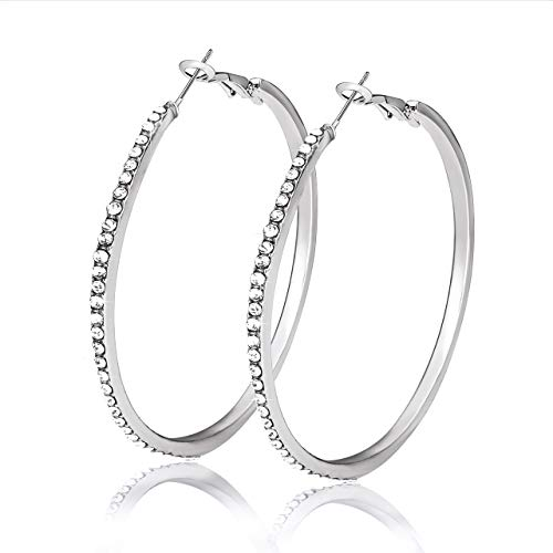 (Liao Jewelry Crystal Hoop Earrings for Women Large Dazzling Rhinestone Circle Fashion Earrings Girls Sensitive Ears Pierced Earrings (Silver))