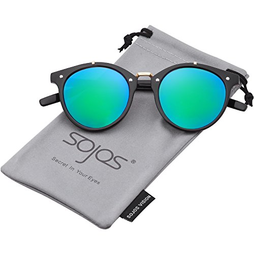 SojoS Vintage Retro Round Sunglasses Mirror Tinted Circle Lens Men Women SJ2054 with Black Frame/Green Mirrored - Male Lenses Circle