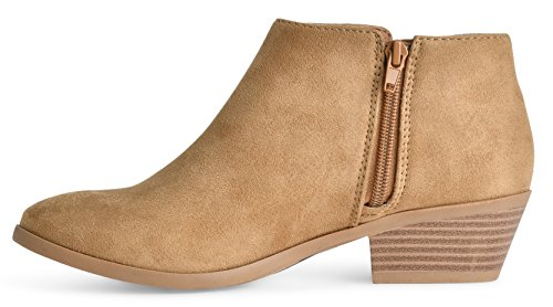 Women's Soda w Western Faux Low Heel Suede Ankle Block Natural Stacked Chunky Bootie d4H4qr