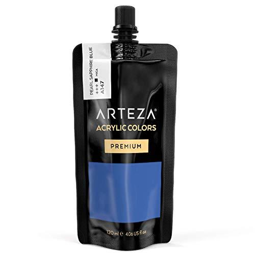 ARTEZA Acrylic Paint Pearl Sapphire Blue Color (120 ml Pouch, -