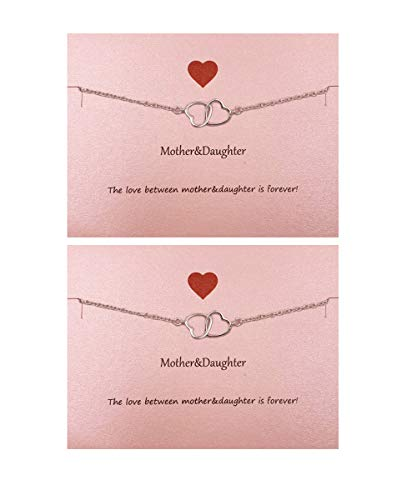 Your Always Charm Mother Daughter Bracelet Set for 2,Interlocking Heart Mother's Day Jewelry Gifts from Daughter -