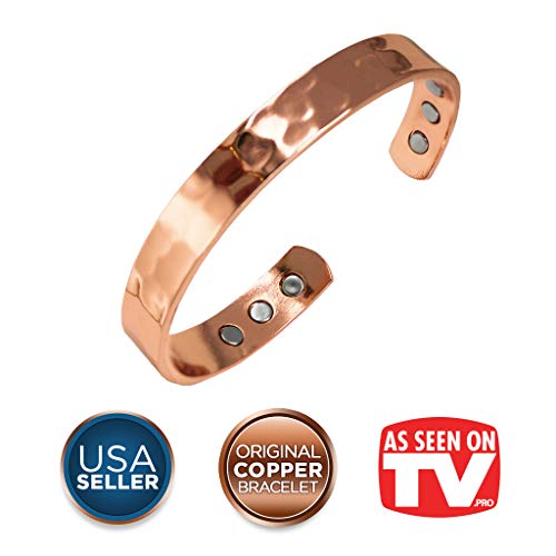 Earth Therapy, The Original Pure Copper Magnetic Healing Bracelet for Arthritis, Migraine, and Joint Pain Relief - Hammered Style - Adjustable - for Women ()