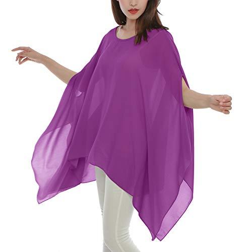 Max Hsuan Women's Loose Solid Sheer Chiffon Caftan Poncho Batwing Tunic Top Blouse Summer Oversized Shirts Purple ()