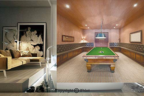 Decorative Privacy Window Film/Entertainment Room in Mansion Pool Table Billiard Lifestyle Photo Print/No-Glue Self Static Cling for Home Bedroom Bathroom Kitchen Office Decor Cinnamon Brown Green