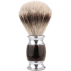 Silvertip Shaving Brush, QSH 100% top Quality Silvertip Badger Hair with Imported Ox Horn Color Resin Material Handle Luxury Facial Care Tools for Safety Razor, Double Edge Razor, Shaving Razor
