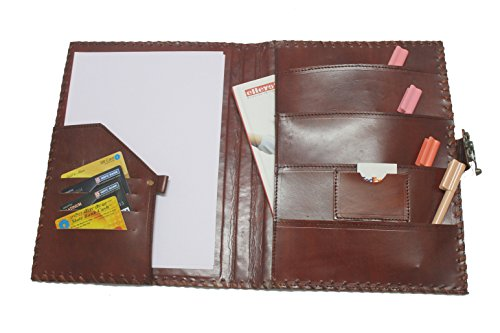 blf vintage handmade embossed leather portfolio resume pad folio cover file folder professional business organizer notepad holder perfect office and