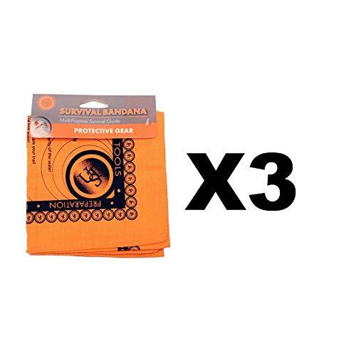 (Ultimate Survival Technologies Bandana Orange Kerchief w/Survival Tips (3-Pack))