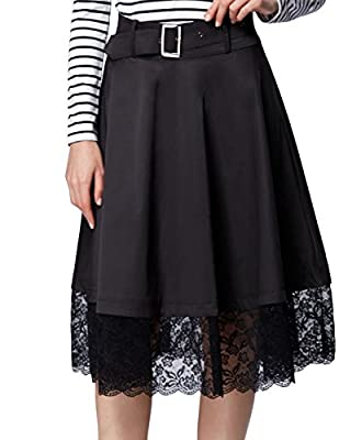 Belle Poque Vintage Retro High Waist Lace Flared Skirt with Belt