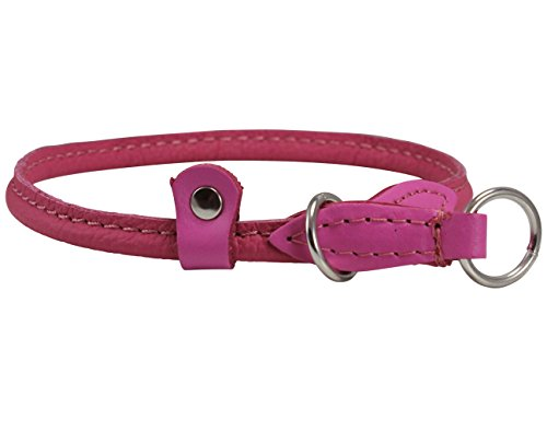 Round Genuine Rolled Leather Choke Dog Collar Pink (20