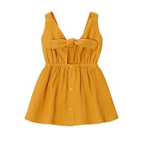 SANMIO Toddler Baby Girls Dress for Summer,Sleeveless Princess Cute Bowknot Dress Yellow 6-12 Months ()