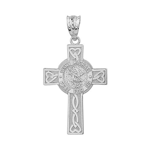 Solid 10k White Gold Saint Michael Pray For Us Celtic Cross Pendant (Gold Cross Celtic White Claddagh)