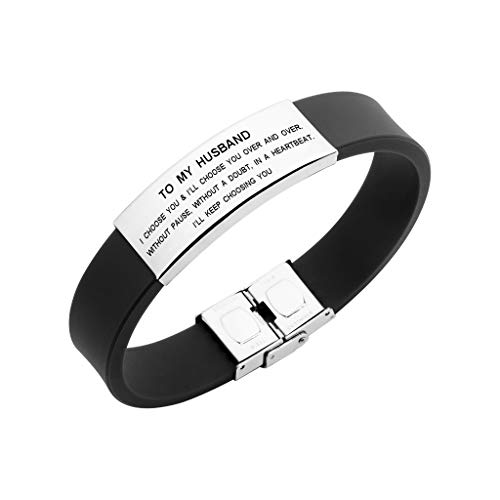 to My Husband I Choose You Men Bracelet Jewelry Gift for Him from Wife (Black) by Freedom Love Gift