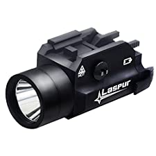 USA LASPUR Weapon Rail Mount CREE LED High Lumen Tactical Flashlight Light with Strobe for Pistol Rifle Handgun Gun, Black