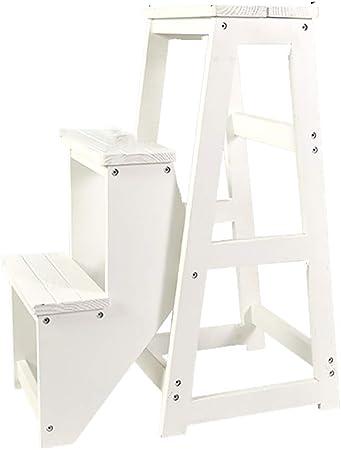 Taburete plegable de 3 niveles Silla de escalera multifuncional Asiento de banco Utilidad, Silla de escalera de taburete de madera, taburete decorativo, Silla de escalera de doble uso Creative Kitch: Amazon.es: Hogar