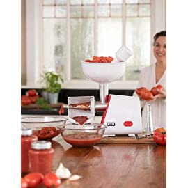 Weston 82-0102-W Deluxe Corded Electric Canning Tomato Strainer Juicer Press Machine, White 1 GREAT FOR SAUCE: Make homemade tomato sauce from garden-fresh tomatoes in minutes SAVE TIME: Save time when canning and preserving SEPARATE SKIN & SEEDS: Quickly separates the skin and seeds from the puree