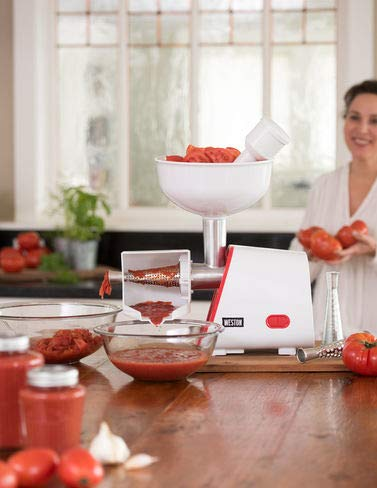 Deluxe Electric Tomato Strainer 1 Quickly separates skin and seeds from juice and pulp Three straining screens for perfect consistency, fine to chunky Large hopper holds 1 gallon of produce