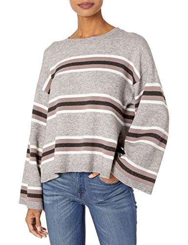 cupcakes and cashmere Women's Amour Striped Pullover with Side Slits, Light Leather Grey, Extra Small