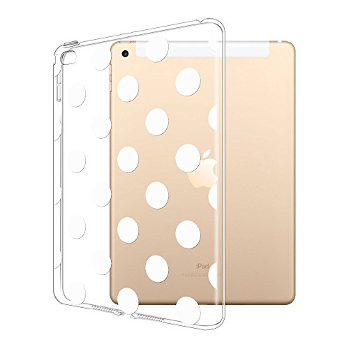 FINCIBO Case Compatible with Apple iPad Air 2 Ultra-Clear Silicone, Super Slim Scratch-Resistant Shock Absorbing Transparent TPU Cover Case for iPad Air 2 Tablet, White Polka Dots ()