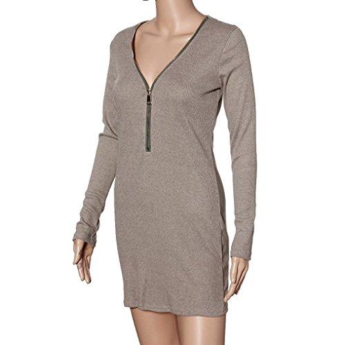 GOTD 2016 Spring Sexy Women Zip V Neck Long Sleeve Bodycon Party Dresses (L, Gray) by GOTD (Image #3)